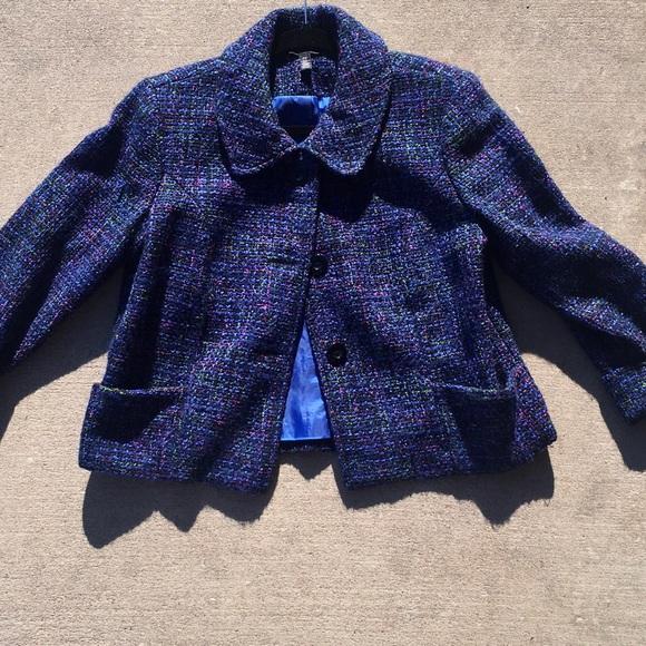 crop jacket • tweed • blue/multi-color • petite